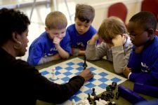 Children that are totally engaged in a Chess for Children Lesson